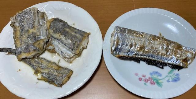 太刀魚のバター焼きと塩焼きの写真